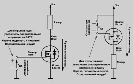 схема включения MOSFET
