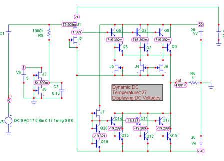 Схема повторителя мощности Grimmi - усилитель тока в симуляторе